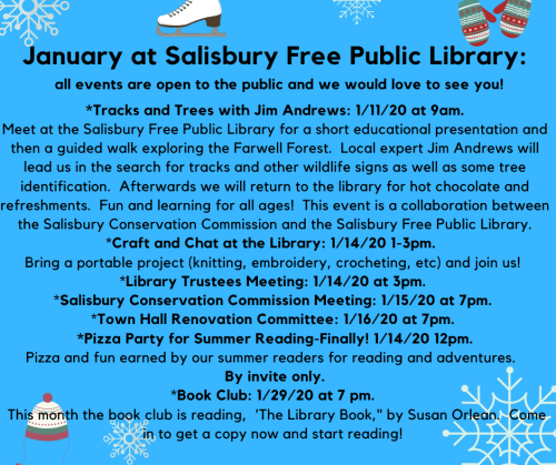 Special events and happenings this month at Salisbury Free Public Library_ all are open to public and we would love to see you! _Craft and Chat at the Library_ bring a portable project (knitting, embroider (1)